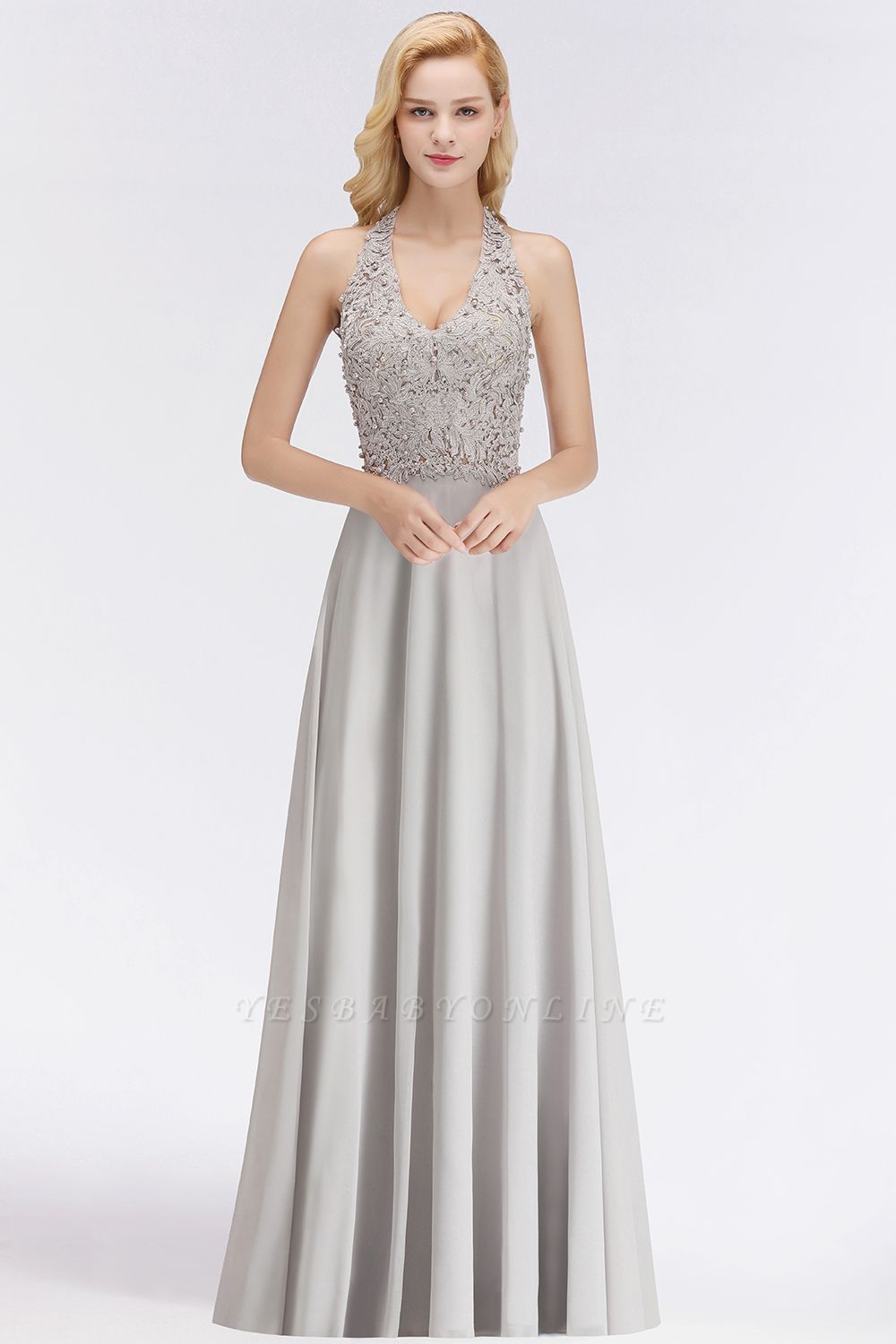 Cheap A-line Halter Chiffon Lace Bridesmaid Dress with Beadings in Stock