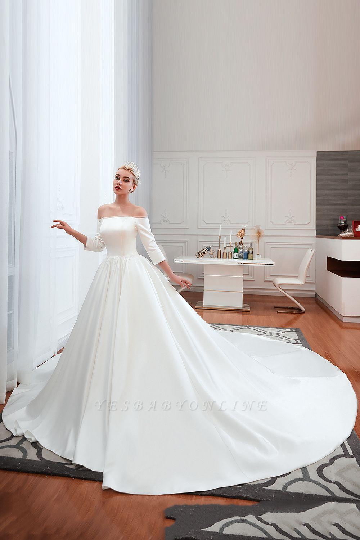 Gorgeous Off the Shoulder Half Sleeves Floor Length A-line Satin Wedding Dresses
