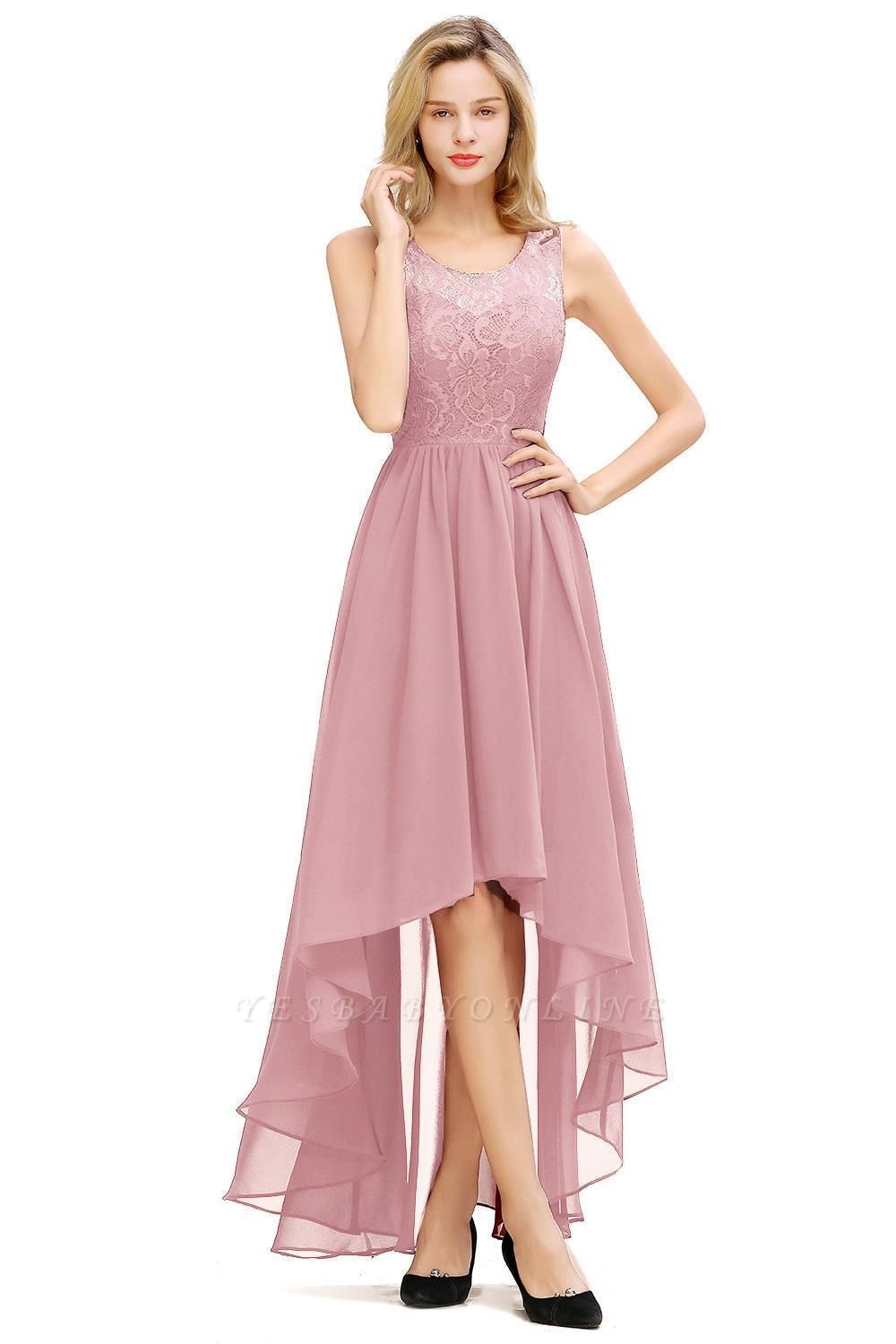 Jewel Sleeveless Hi-Lo Lace Chiffon Bridesmaid Dresses | Simple Wedding Guest Dresses