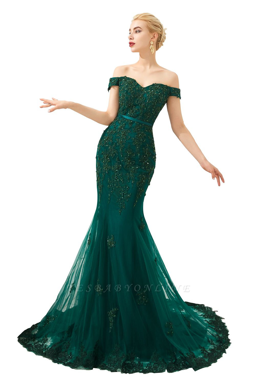 Gorgeous Off the Shoulder Jade Long Mermaid Prom Dresses | Floor Length Evening Dresses