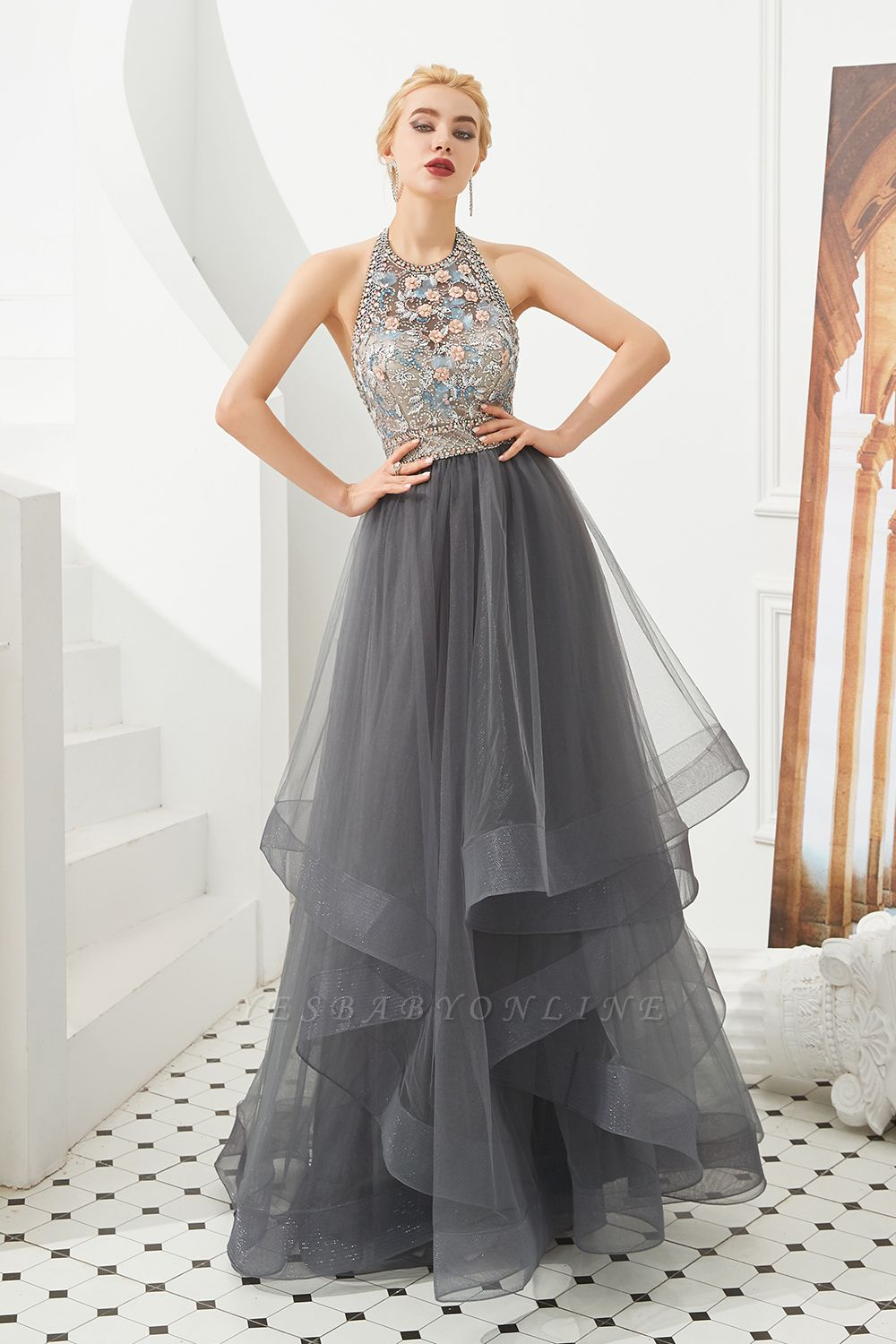 Stylish Floor Length Halter Beaded Tiered Blackless Tulle Prom Dresses