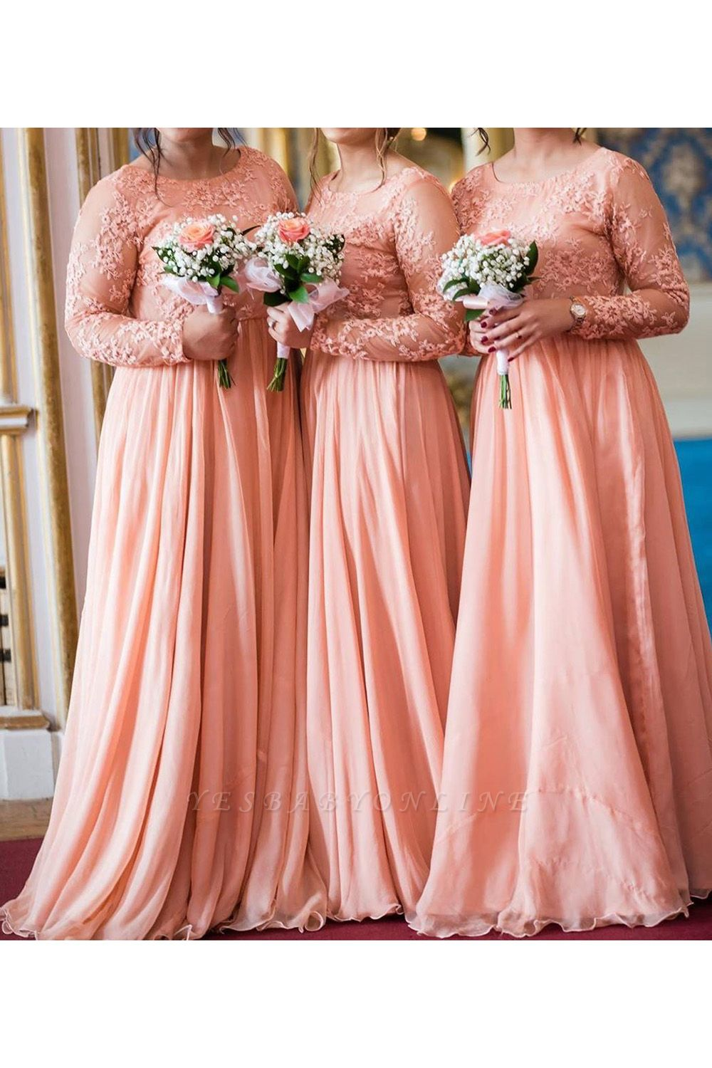 Jewel Long Sleeves Floor Length Sexy Lace Chiffon Bridesmaid Dresses