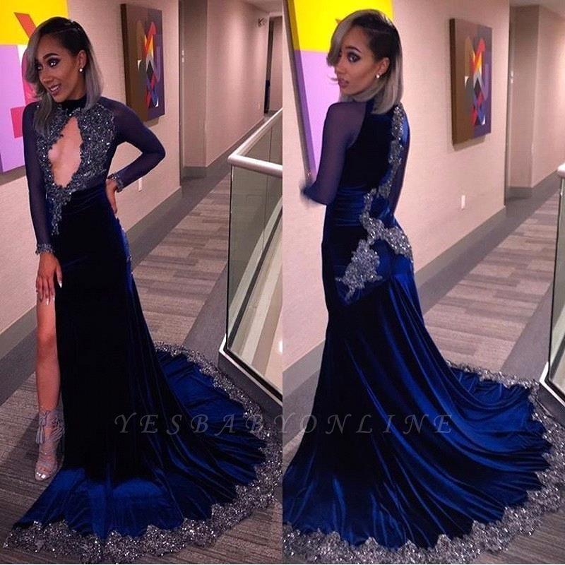 Sequins Key-Hole Halter Sexy Long-Sleeves Velvet High-Slit Prom Dress