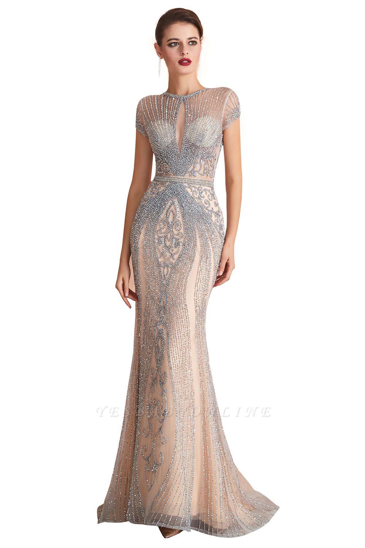Cap Sleeves Keyhole Jewel Gorgeous Beaded Long Prom Dresses | Elegant Long Evening Dresses