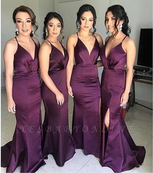 Spaghetti Straps V-neck Fitted Bridesmaid Dresses | Sexy Long Maid of Honor Dresses