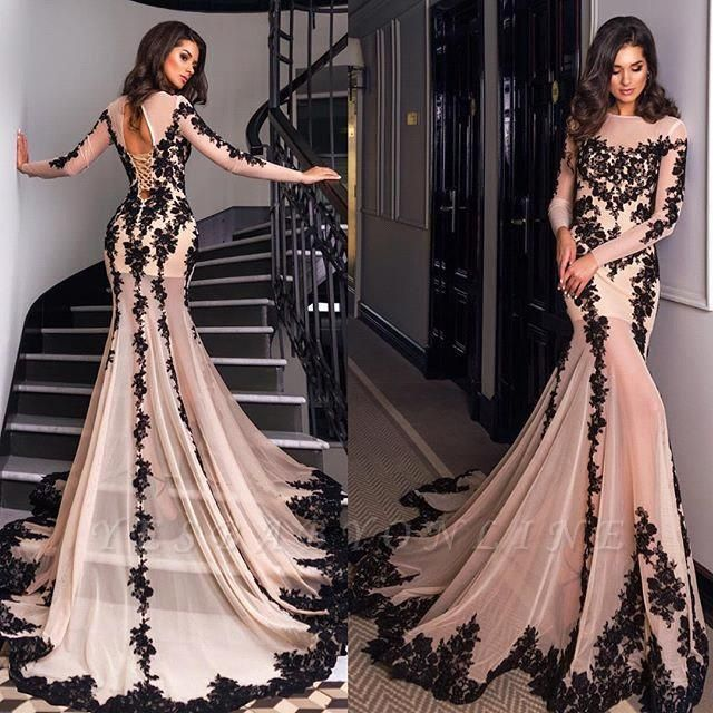 Long-Sleeves Mermaid Sexy Sheer Nude Lace-Appliques Black Evening Gowns