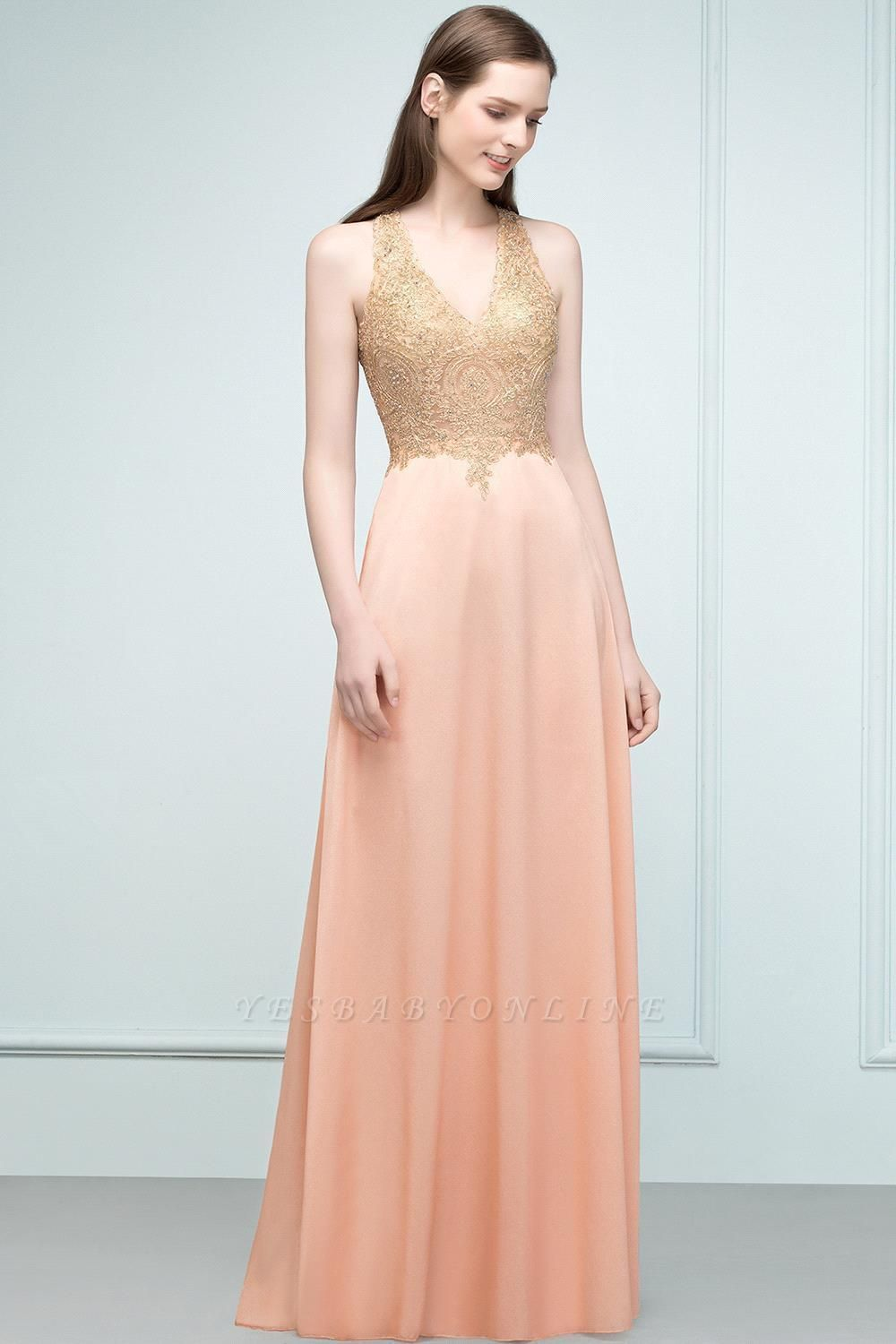 Cheap A-line Floor Length V-neck Sleeveless Appliques Chiffon Prom Dress in Stock