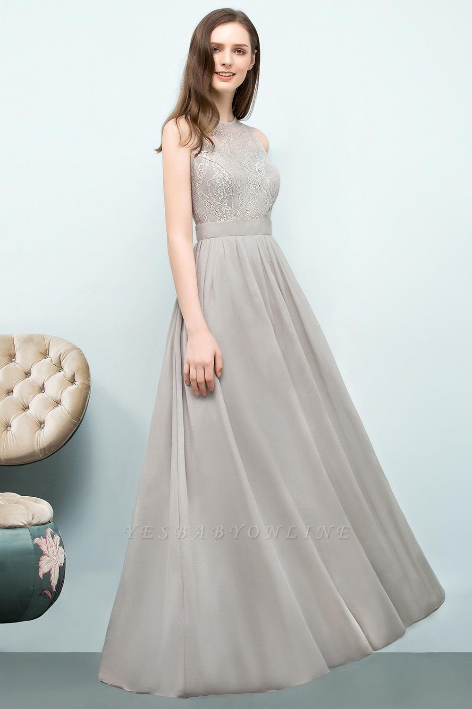 A-line Sleeveless Long Lace Top Chiffon Bridesmaid Dresses