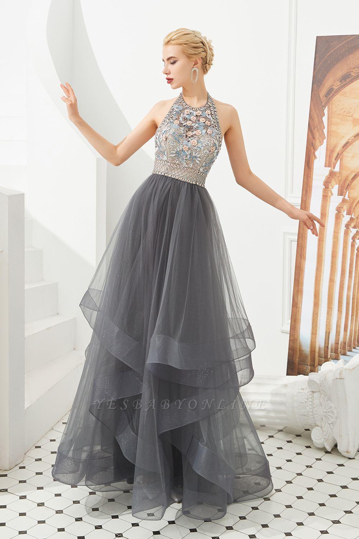 Stylish Floor Length Halter Beaded Tiered Blackless Tulle Prom Dresses