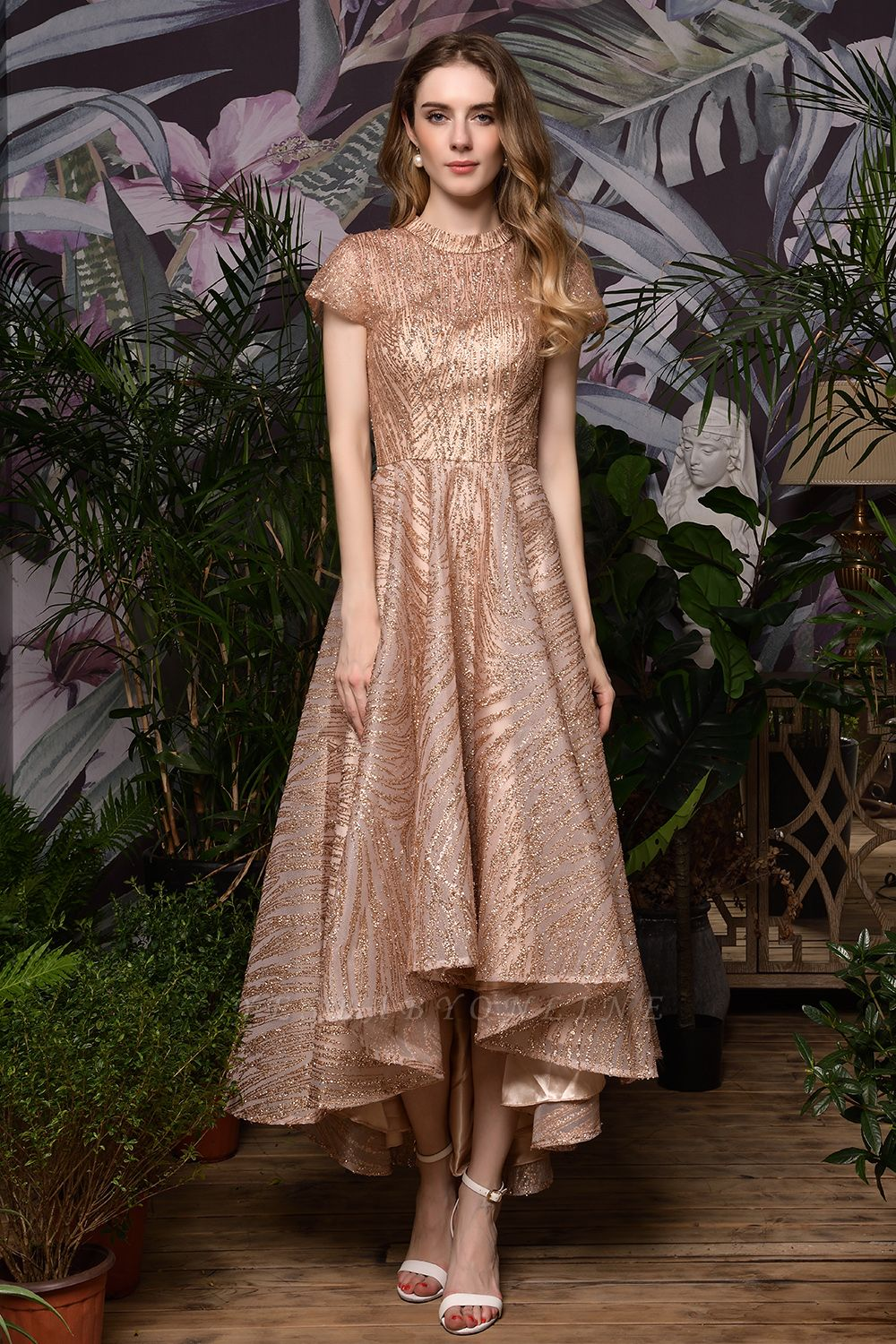 Champagne High Neck Short Sleeve Sequined A Line Prom Dress | Tea Length Ruffles Evening Gown