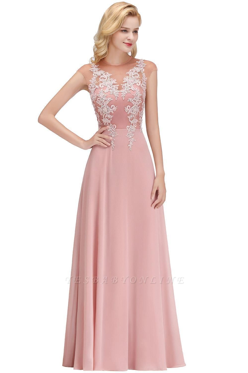 Cheap A-line Jewel Sleeveless Chiffon Tulle Lace Bridesmaid Dress in Stock