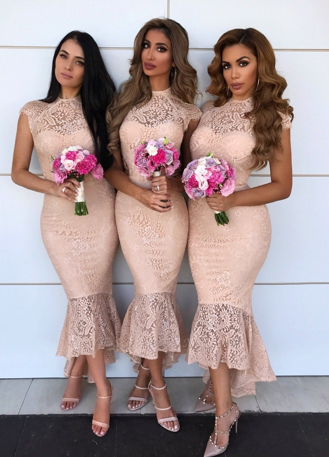 Cap Sleeves Jewel Tea Length Mermaid Lace Bridesmaid Dresses  | Affordable Maid of Honor Dresses