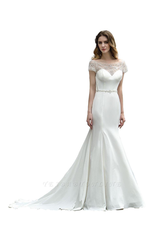 Cheap Short Sleeveless Lace Mermaid White wedding dresses