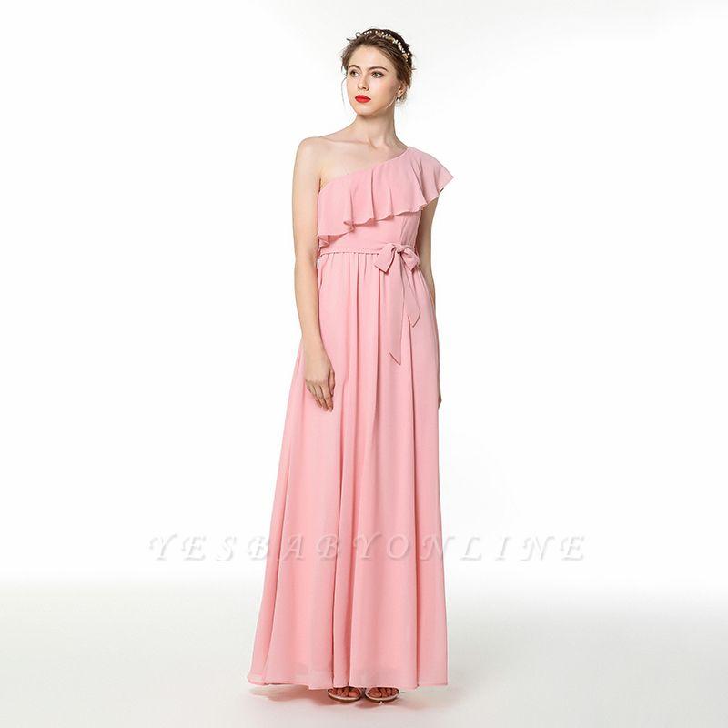 One Shoulder Belted Floor Length Chiffon Prom Dresses | Long Cheap Evening Dresses Online