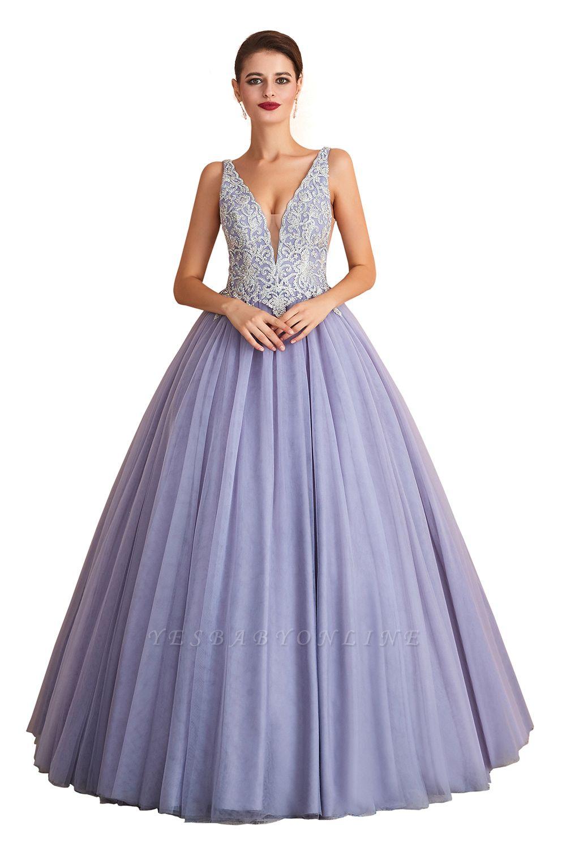 Straps V-neck Sexy Applique Long Prom Dresses   Glamorous Puffy Evening Dresses