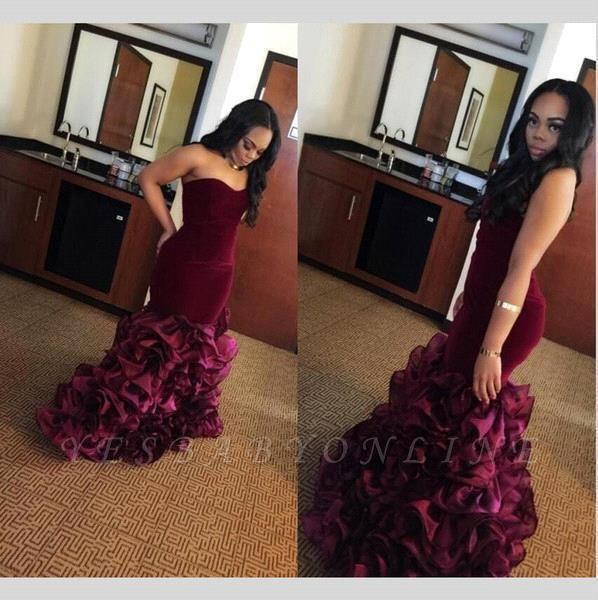 Sweetheart-Neck Ruffles Flowers Velvet Burgundy Mermaid Train Prom Dresses