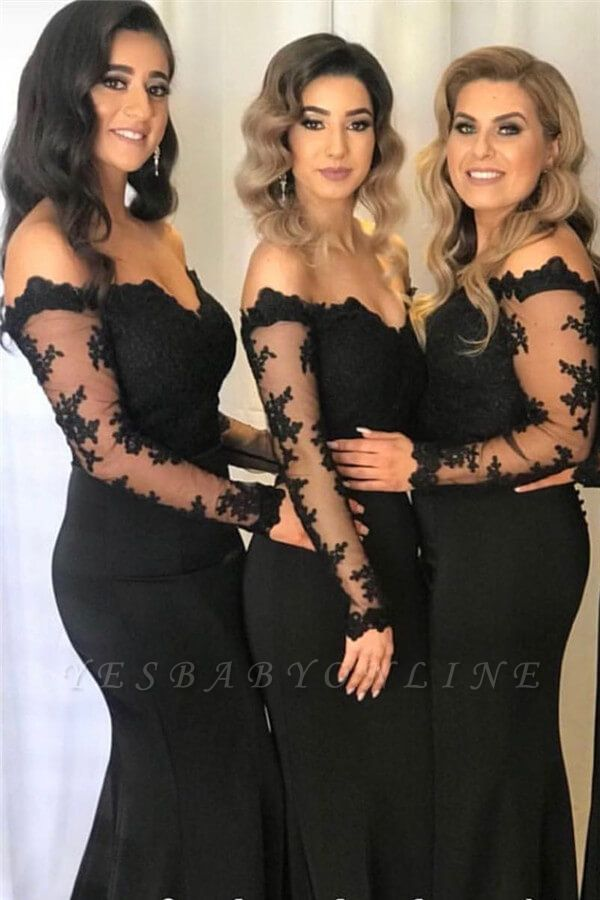 Elegant Off The Shoulder Black Lace Cheap Bridesmaid Dresses with Long Sleeves