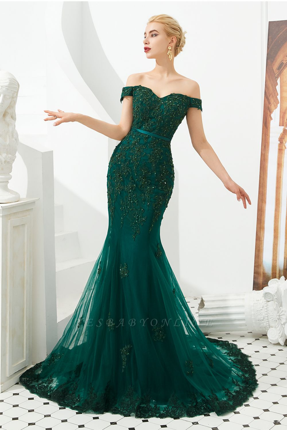 Gorgeous Off the Shoulder Jade Long Mermaid Prom Dresses | Floor Length Evening Dresses
