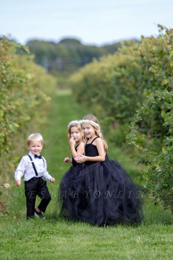 Spaghetti Straps Ball Gown Floor Length Tulle Flower Girl Dresses
