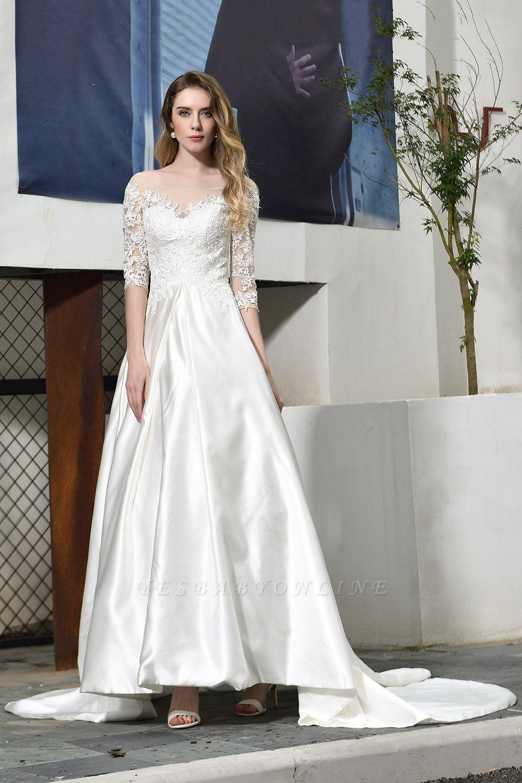 Glamorous 3/4 Sleeves Floor Length Length A-Line Lace Wedding Dresses
