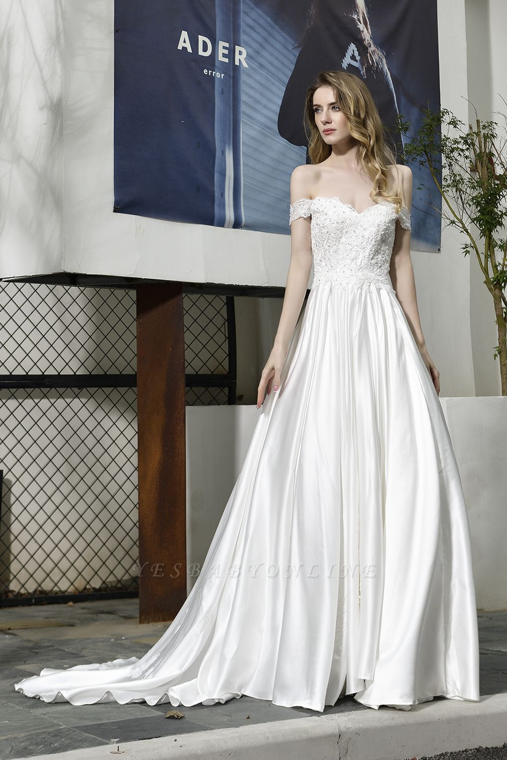 Cheap A Line Off the Shoulder Lace Satin White Wedding Gowns