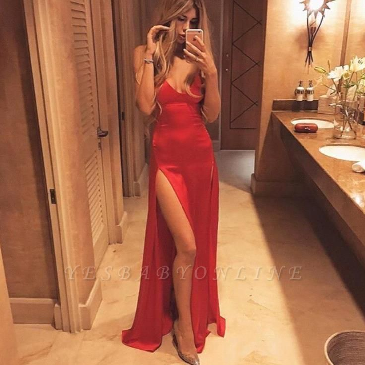 Floor-Length Red Spaghetti-Strap Sexy Split Prom Dress