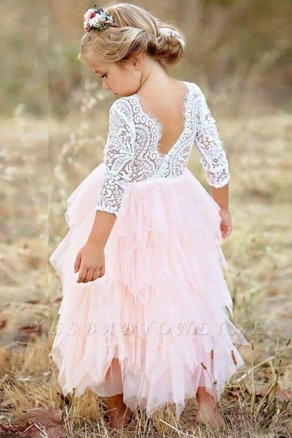 Cute Long Sleeves Jewel Tea Length Lace Tulle Flower Girl Dresses