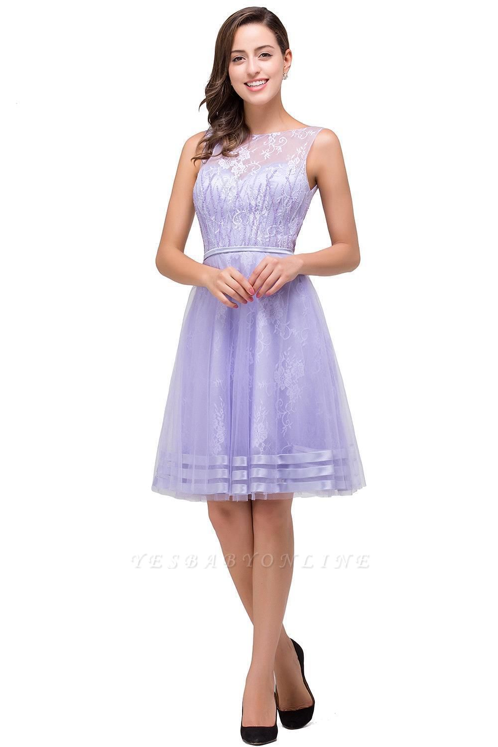 2019 Lavender Short Lace A-Line Sleeveless Mini Homecoming Dress