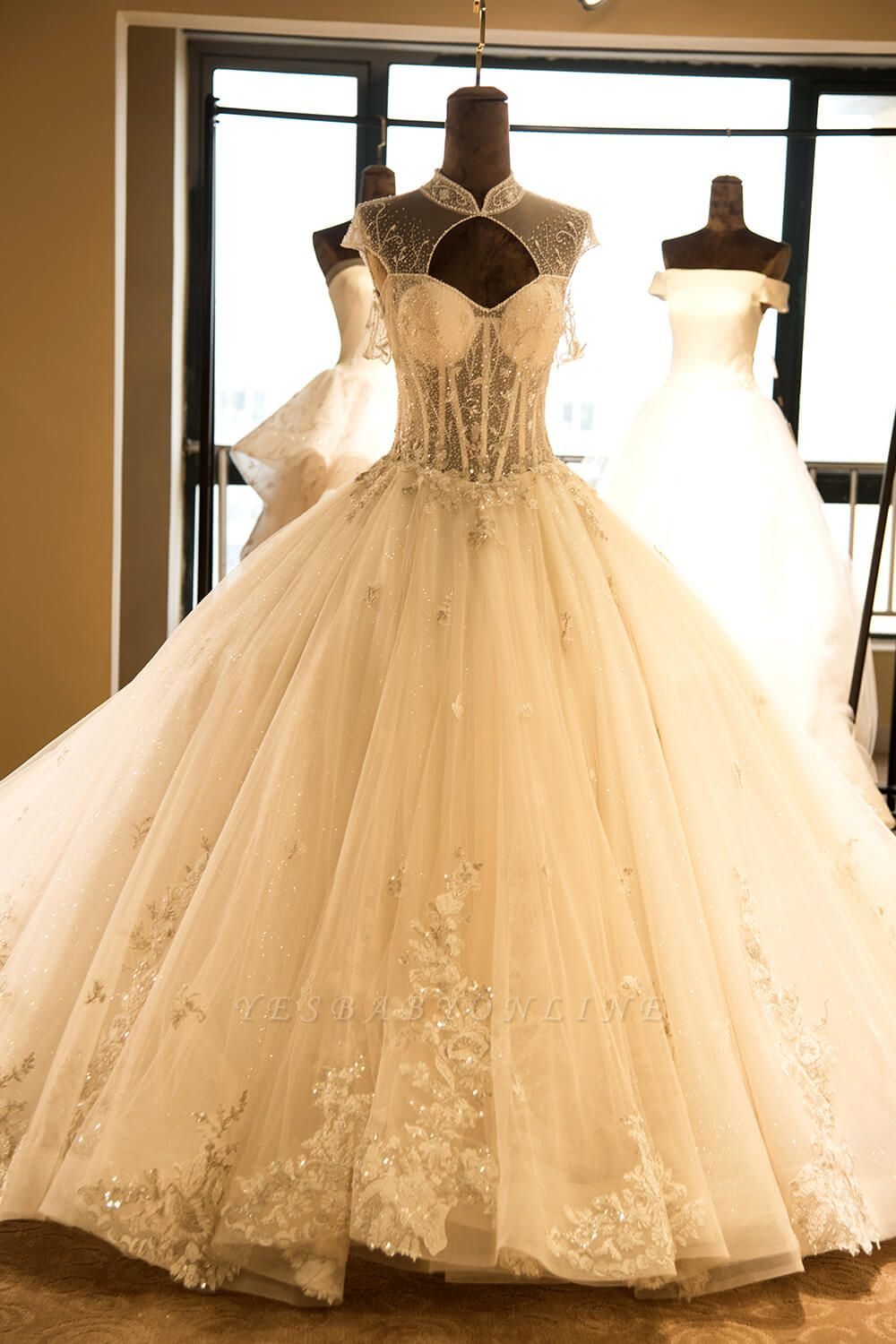 Glamorous High Neck Lace-up Tulle Wedding Dress | Haute Couture Bridal Gowns Series
