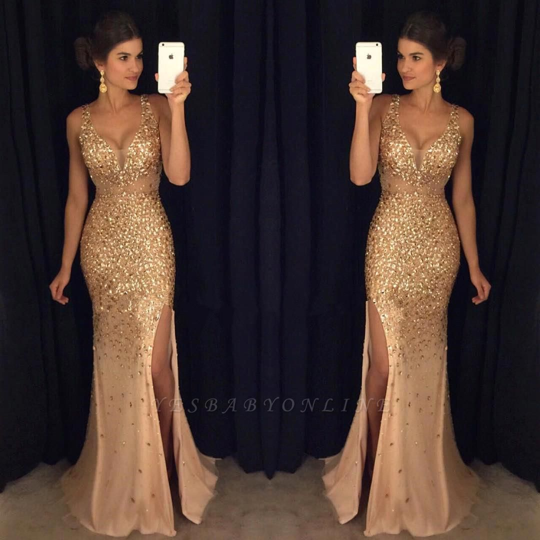 Luxury Gold Mermaid Prom Dresses Sleeveless Front Split Crystals Long Evening Gowns
