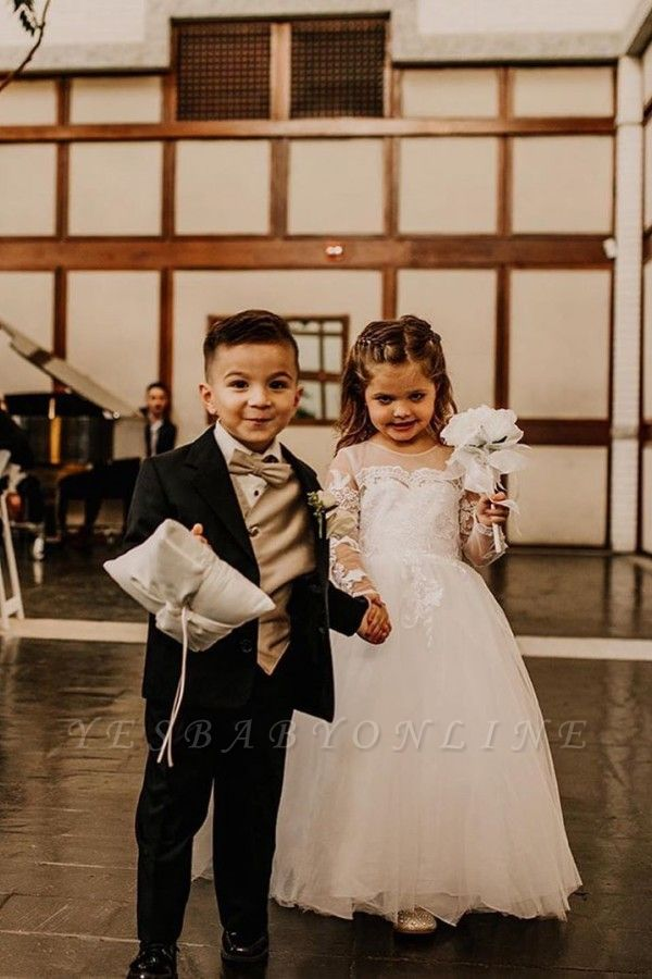 Cute Jewel Sweep Train Lace Tulle Flower Girl Dresses with Long Sleeves