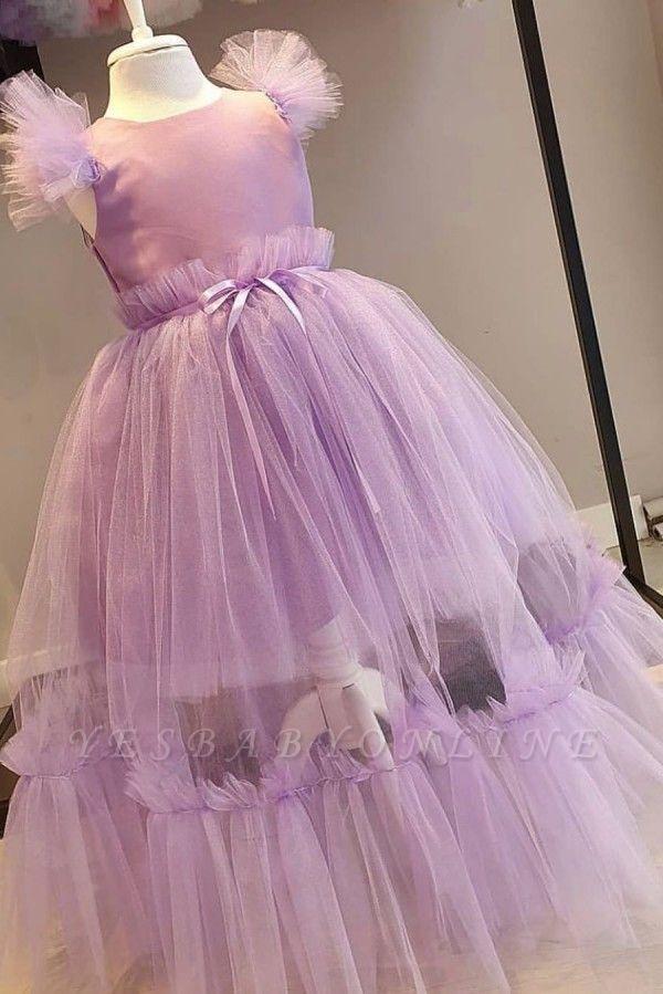 Jewel Cap Sleeves Ribbon Belt Tulle Long Flower Girl Dresses