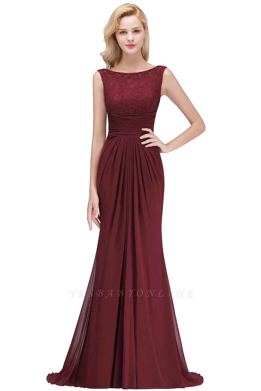 Mermaid Burgundy Chiffon Ruffles Evening Dress On Sale