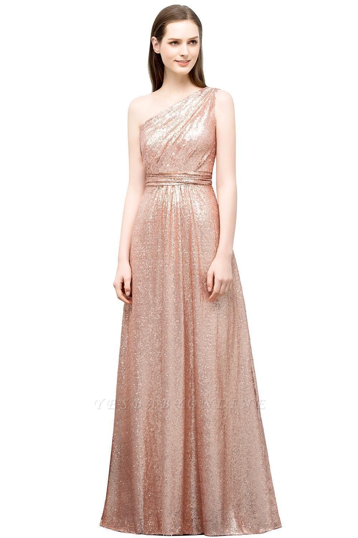 A-line One-shoulder Sleeveless Floor Length Sequins Prom Dresses