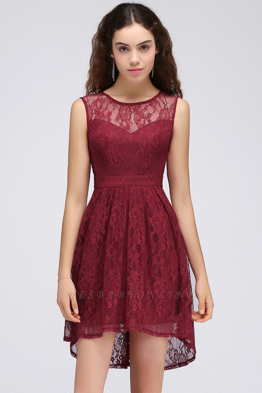 Lace Sleeveless A-line Burgundy Newest Illusion Homecoming Dress