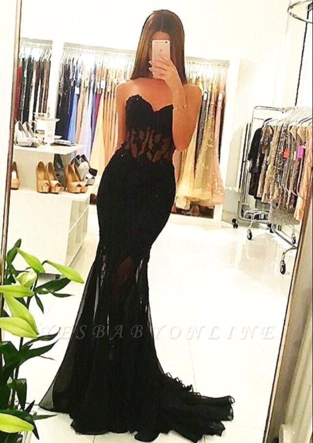 2019 Mermaid Black Sheer Prom Dresses Appliques Long Sexy Tulle Evening Gowns