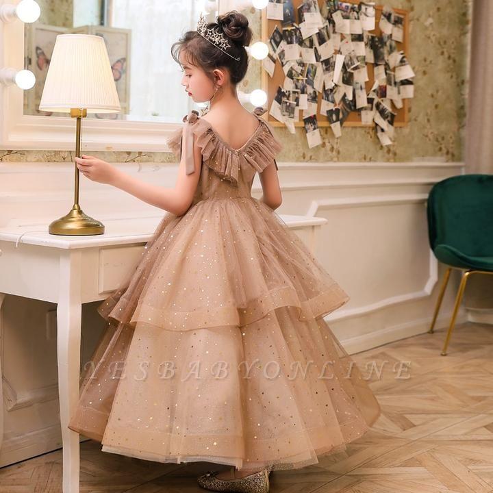 V-neck Straps Tulle Puffy Princess Flower Girl Dresses   Kids for Dress for Wedding