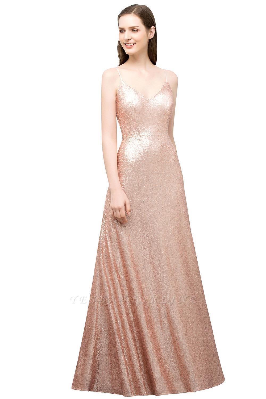 A-line Floor Length V-neck Spaghetti Sequined Prom Dresses