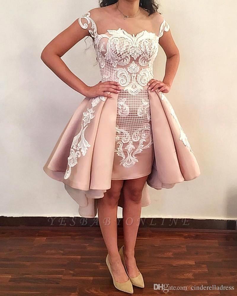 Latest Hi-Lo Prom Dresses | Pink Short Puffy Homecoming Dresses