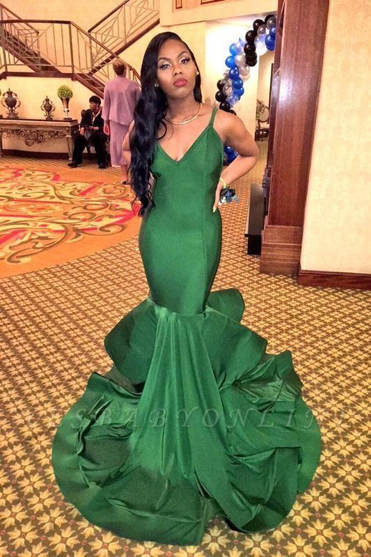 Sexy Mermaid V-neck Long Spaghetti-Straps Ruffles Evening Gown