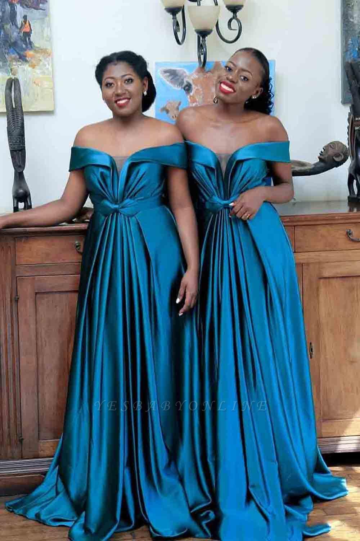 Long Off the Shoulder Satin Sexy Bridesmaid Dresses | Elegant Wedding Guest Dresses