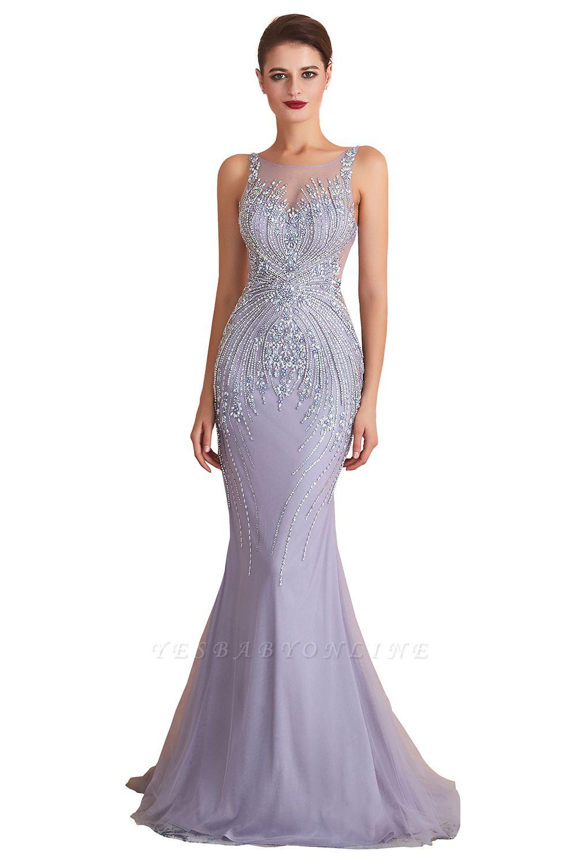 Sleeveless Bateau Beaded Sexy Long Mermaid Prom Dresses | Elegant Lilac Evening Dresses