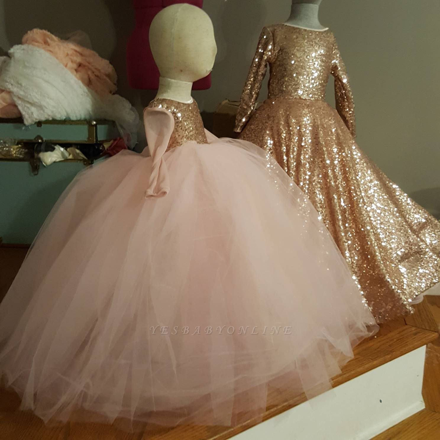 Cute Jewel Long Sleeves Sequined Puffy Tulle Flower Girl Dresses