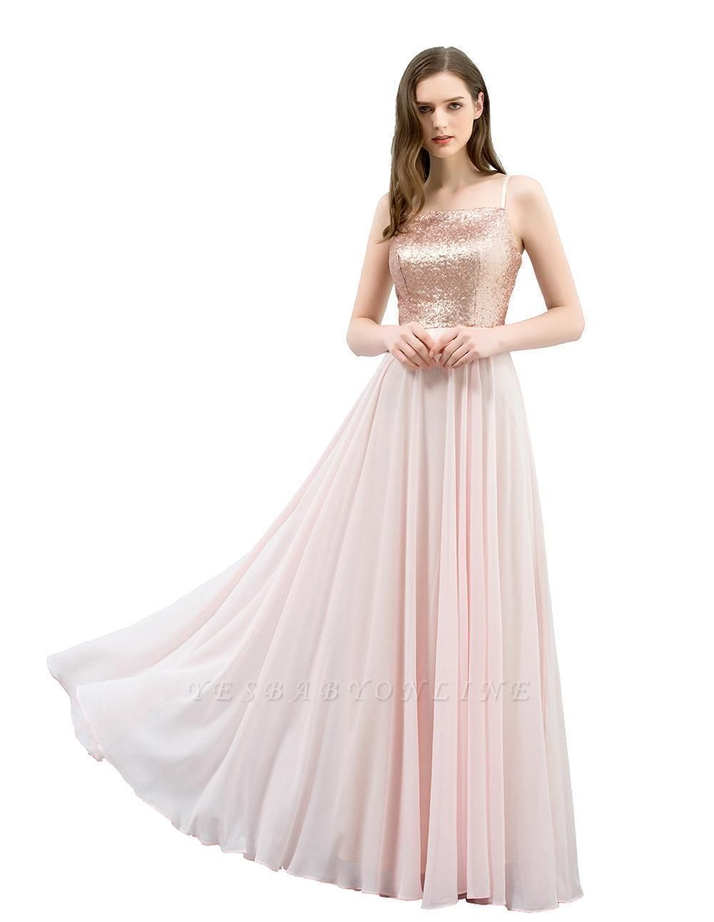 Cheap A-line Floor Length Spaghetti Sequined Top Chiffon Prom Dress in Stock