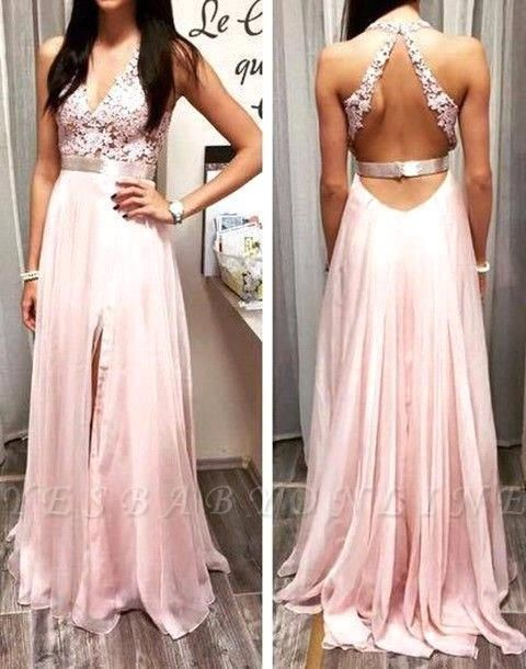 Sexy Pink Prom Dresses Halter V-Neck Lace Sleeveless Open Back  Evening Gowns