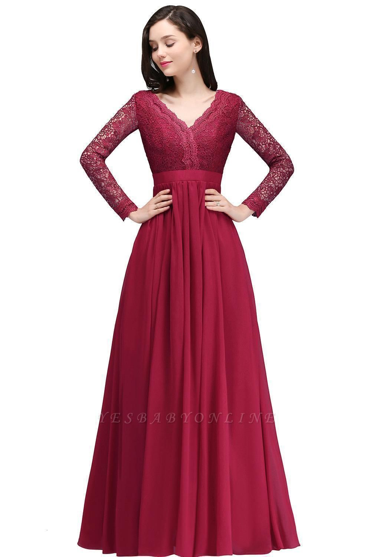 Elegant A-line Chiffon Lace Long Sleeves Evening Dress On Sale