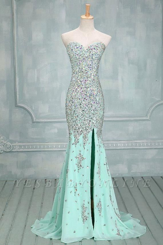 Luxury Mint Crystals Prom Dresses Sweetheart Neck Chiffon Side Slit Evening Gowns