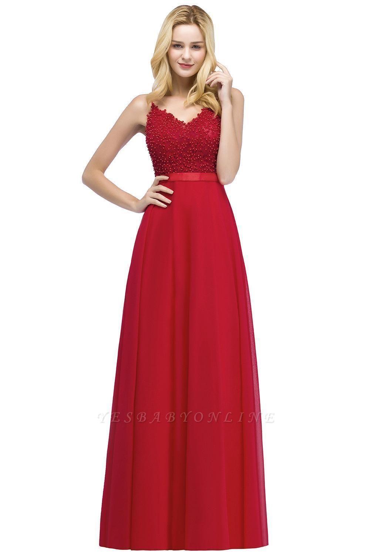 Spaghetti Straps V-Neck Chiffon Lace Evening Dress On Sale