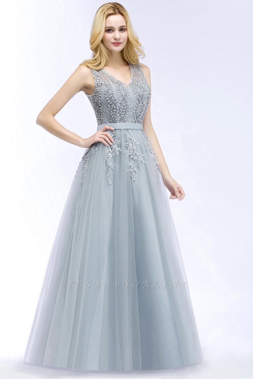 Stylish V-neck Tulle Lace Long Evening Dress
