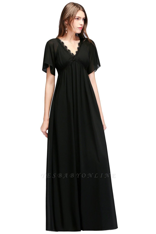 A-line V-neck Short Sleeves Long Black Chiffon Bridesmaid Dress